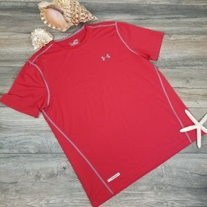 Under Armour fitted Heatgear Red Tee Shirt Sz XL